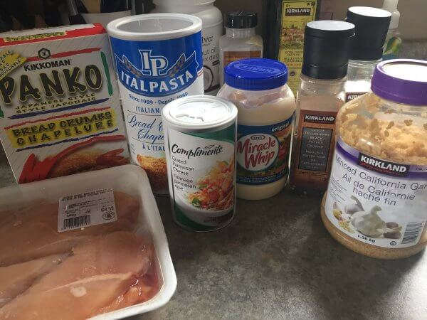 Easy Parmesan Mayonnaise Chicken Strips ingredients