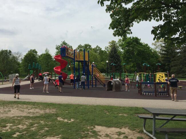 Victoria Park Playground, recently renovated with soft surfaces, a great free idea for kids and grownups