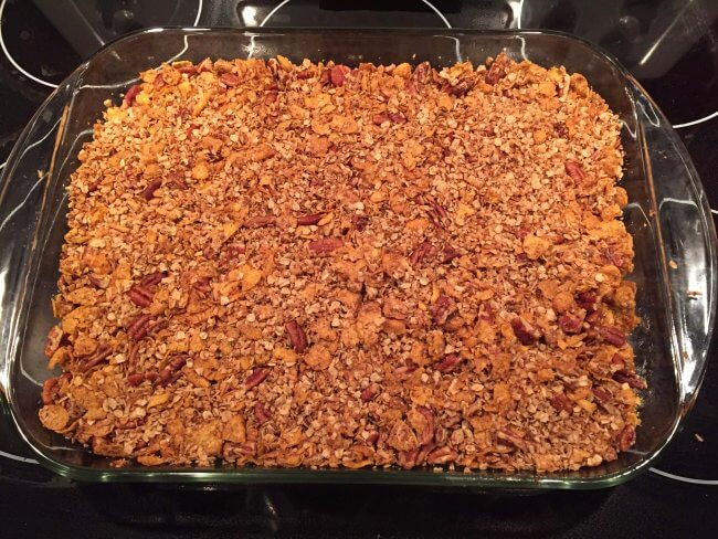 A fresh batch of Easy Maple Pecan Granola fresh from the oven! Crunchy, toasty, golden brown goodness!