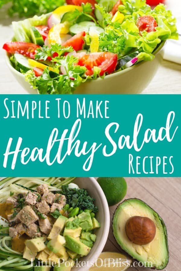 Want simple to make healthy salad recipes, using fresh veggies, favourite flavours, vibrant rainbow colours and crunchy textures? Try these 7 easy salad recipes, as a side or for lunch or dinner! #healthysaladrecipe #superfood #healthysalads #cleaneating
