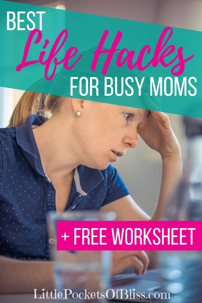 Mom life got you feeling overwhelmed, disorganized and frazzled? Check out these life hacks for busy moms you can do today to make life a little easier! #momlife #momhacks #busymoms #lifehacks