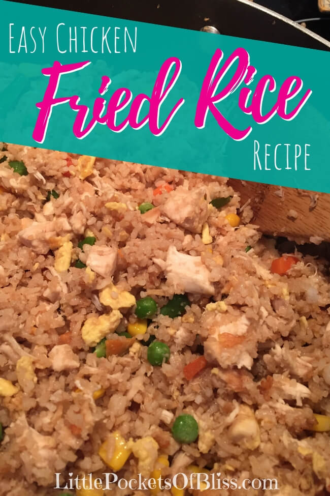 "Looking for a super fast weeknight recipe?  Try this ""cheater"" easy chicken and vegetable fried rice, made with rotisserie chicken, leftover rice and frozen vegetables. #easymeal #fastdinner #dinnerin15"