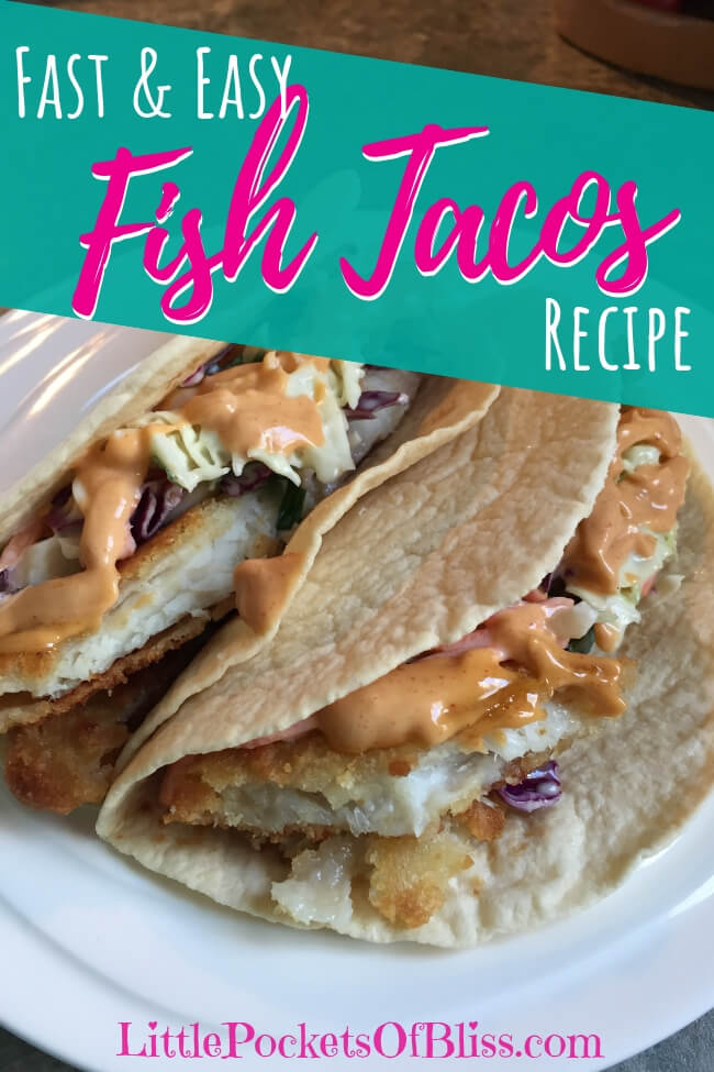 Need a quick weekday meal idea, inspired by a Hawaiian vacation? Try Fast and Easy Fish Tacos! Fish, coleslaw and a super easy garlic lime crema sauce! #fishtacos #easymeals #easydinner