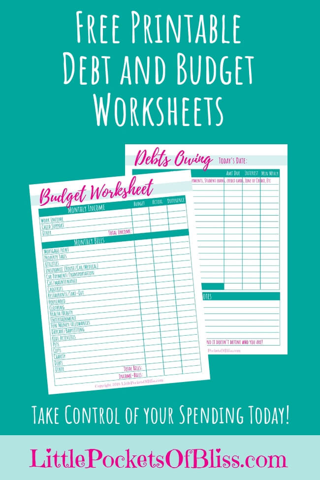Want to finally take control of your spending? Get your Free Printable Debt and Budget Worksheets today! #singlemom #divorce #budget #singlemombudget #financialfreedom