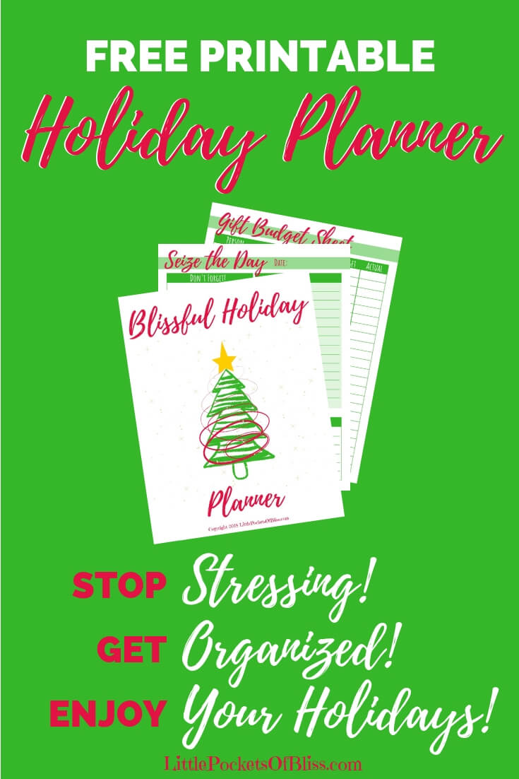 Already stressing about the holidays? Don't know where to begin with gift buying, menu planning, budgeting? Get this FREE printable Holiday Planner! 17 pages to get you organized so you can stop stressing and enjoy your holidays! #freeplanner #stressfreeholiday #freeprintable