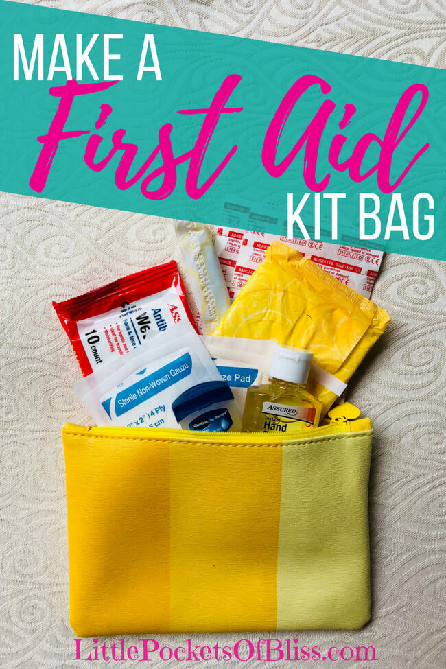 Make Your Own First Aid Kit Bag, great for tossing in a purse, diaper bag or kids backpack, be prepared for emergencies #firstaidkitbag #beprepared #momlife #momfirstaid
