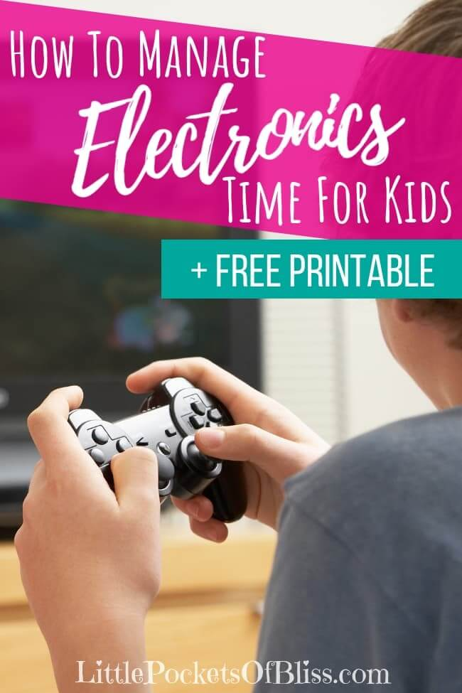 How To Manage Electronics Time For Kids when it feels like they are addicted to screens all the time. Includes FREE printable strategies sheet #screentime #gamingkids #electronicstime #addictedtoscreens #momlife #gamingaddiction