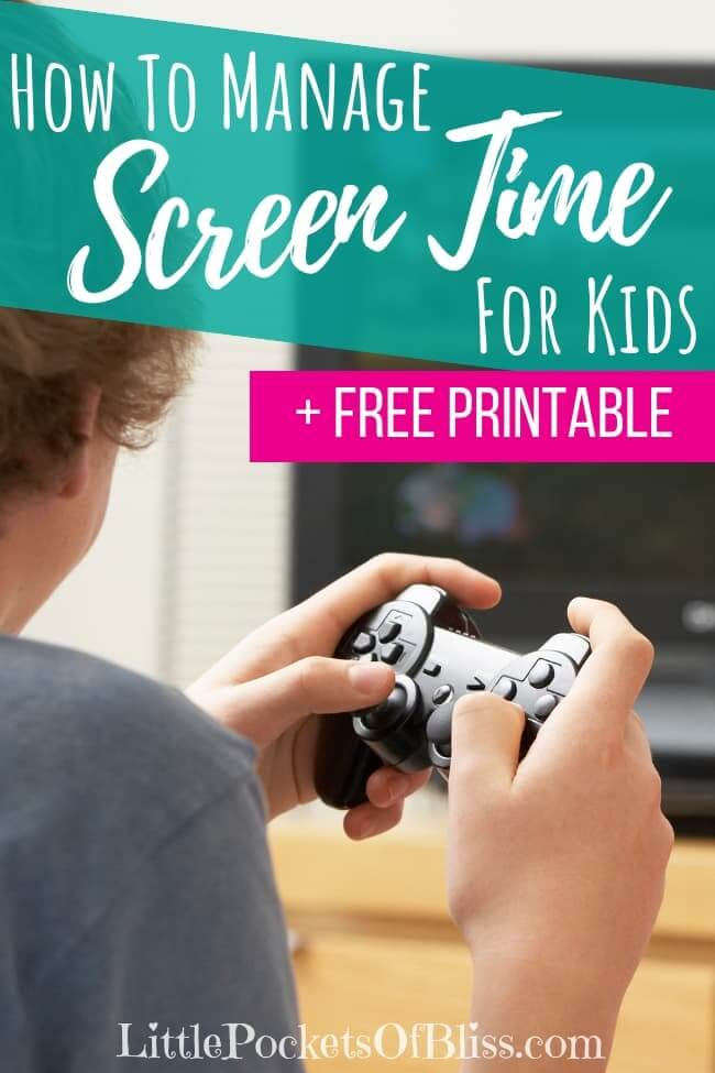 How To Manage Screen Time For Kids when it feels like they are addicted to all the time. Includes FREE printable strategies sheet #screentime #gamingkids #electronicstime #addictedtoscreens #momlife #gamingaddiction