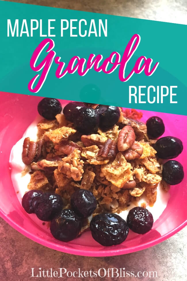 Warm, toasted, golden brown maple pecan granola recipe!  Great as a cereal with milk, stirred in yogurt, or as a base for trail mix! #granolarecipe #maplepecangranola #crunchygranola #easygranola