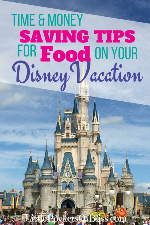 How to save money on Disney dining (and time) so you can enjoy more of your vacation!  Recommendations on where to eat, grocery delivery, splitting meals, mobile ordering and more! #disneydining #savemoney #savetime #disneyvacation