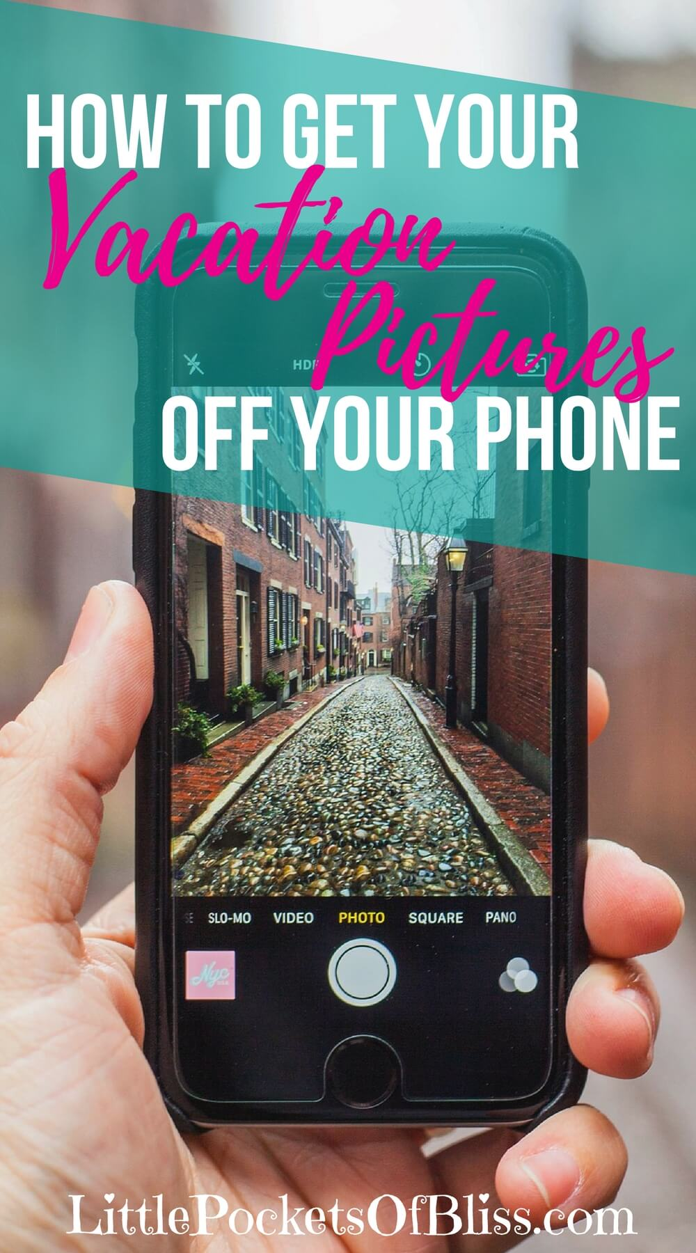 Where are your vacation photo albums? Wait...still have all the pictures on your phone? Here's a step by step process for getting your vacation pictures off your phone so everyone can enjoy them! #vacationphotos #trippictures #vacationmemories