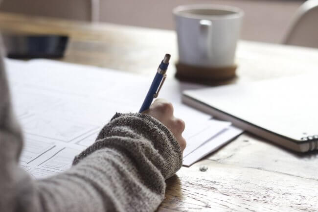 Getting through divorce with you time writing in a journal